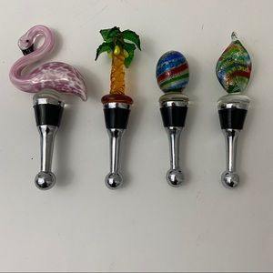 Glass Decorative Wine Stoppers Assorted Set of 4